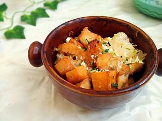 #感恩节食谱#南瓜蜜柚烤鸡肉,敏茹意作品 感恩节食谱:南瓜蜜柚烤鸡肉