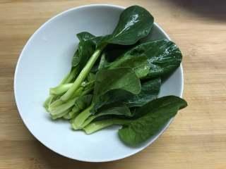 一碗面條+酸菜牛肉粉,上海青清洗干凈。