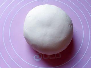 最爱包子+彩球包子,再用手和成软硬适中的面团,盖保鲜膜放温暖处发酵至2倍大。