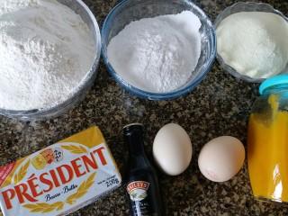 芒果果酱饼干,准备好所有食材准备好所需食材,奶粉 糖粉 低粉全部过筛备用