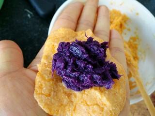 #感恩节食谱#南瓜馅饼,放进紫薯馅