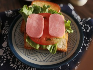 三明治,加西红柿片和火腿