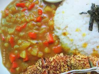 咖喱鸡排饭,免炸版,刚出锅的炸鸡排,切起来咔咔响,炖的软糯的土豆和胡萝卜裹满咖喱酱汁,太美味啦!