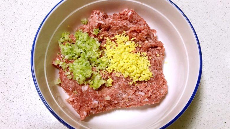 自制午餐肉,在肉泥盆中加入姜末和葱末
