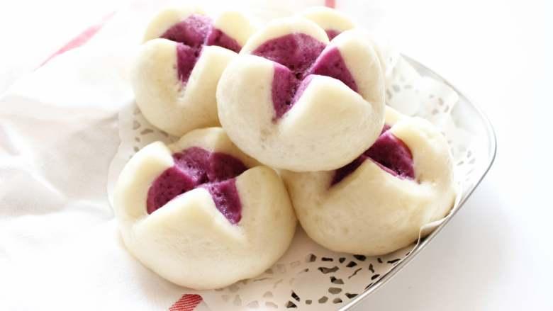 开花紫薯馒头
