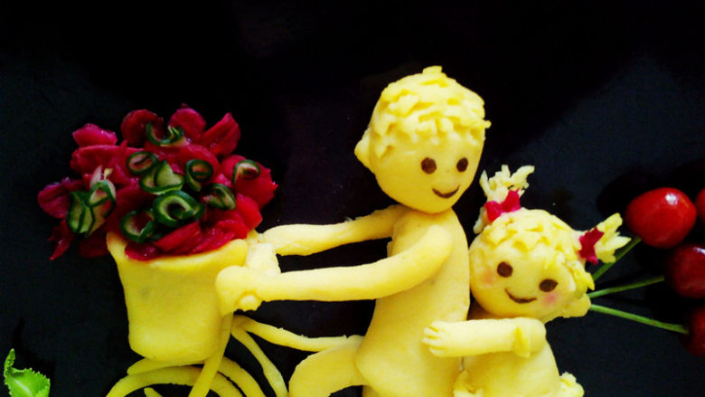 #感恩节食谱#绿豆沙之父爱如山,竹签扎一点火龙果肉做小辫子上的蝴蝶结。