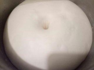 椰蓉吐司,面团发至2倍大,手指粘面粉在面团中间戳个洞,不回缩不塌陷证明已经发酵好了。