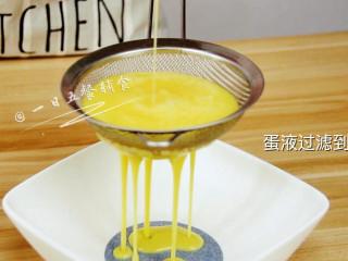 火腿芝士西多士, 蛋液过筛,放入平盘。