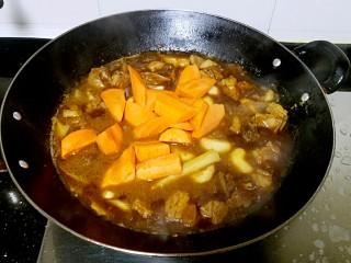 滋味羊肉煲,加入胡萝卜和盐,再焖煮20分钟。
