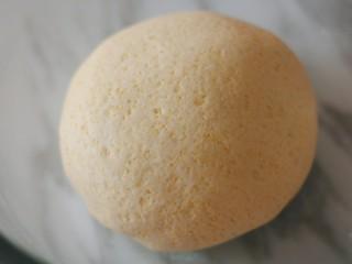 梨子造型粗粮馒头,食用油分三次加入面团,每次都充分揉匀再加下一次。