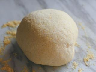 梨子造型粗粮馒头,将发酵好的面团取出反复按压排气。