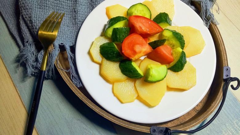 圆土豆+减脂土豆素菜盘