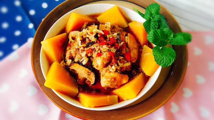 健康蒸菜~南瓜香菇蒸滑鸡