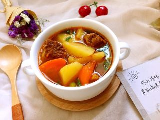 圆土豆+土豆炖牛腩,营养又美味