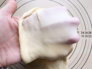 牛角包,把面团从冰箱拿出来,取一小块抻开,能看到面团已经有了膜,但比较厚,这样的面团还不能拿来塑形。继续揉面。
