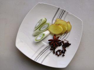 鸡肉麻辣香锅,葱切段,姜切片,大料和花椒准备好,