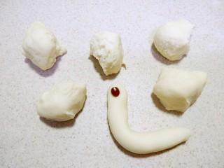 小蜗牛馒头,取白面团分成蜗牛的身体。