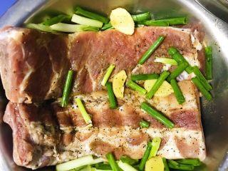 烤箱版蜜汁烤排骨,葱段,料酒,再次按摩,继续排骨的腌制过程,就是等待一小时(至少)。