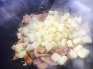 #圆土豆# 土豆烧茄子,放入土豆丁。