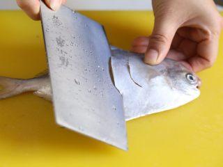 蒜香鲳鱼,将鲳鱼去掉肚里内脏,洗净。将鱼放案板上,斜划几刀。