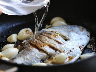 蒜香鲳鱼,倒入适量清水,与鱼身持平即可。
