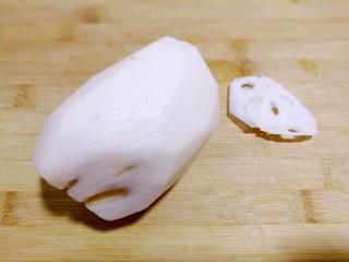 爆炒藕粒青椒肉,鲜藕去皮洗净,切片