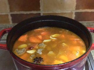 番茄胡萝卜炖牛腩,不要吃太撑哦,加入胡萝卜块、盐及冰糖搅拌均匀