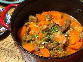 番茄胡萝卜炖牛腩,不要吃太撑哦,最后,撒上葱花或者香菜,来享受冬夜的温暖款待吧~
