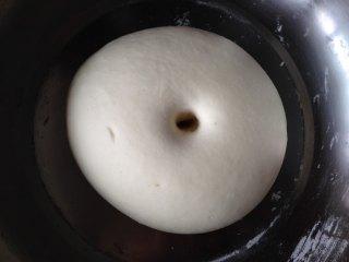 金鱼馒头, 200克面粉里加入酵母液20克 、白糖20克、清水(约100克)合成较硬的原色面团,发酵至两倍大(手指沾面戳个坑不回缩、不塌陷即是发酵好了)