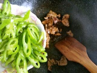 蒜黄尖椒炒肉,炒到肉变色以后,加入切好的尖椒丝翻炒