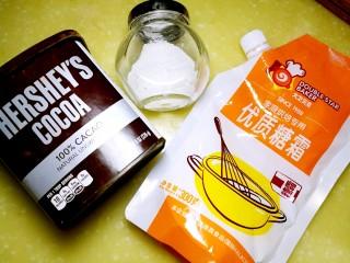 巧克力马芬蛋糕,好时巧克力粉、巧克力、糖粉、泡打粉、黄油