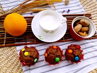 巧克力马芬蛋糕,马芬蛋糕搭配牛奶、水果和坚果,就是营养全面的满分早餐,带给家人健康每一天!