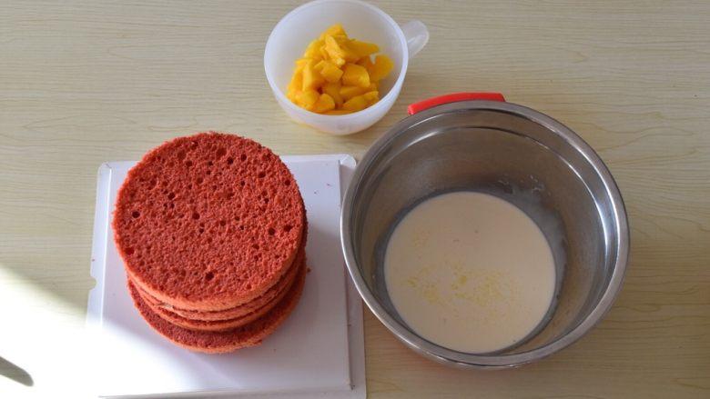 红丝绒蛋糕,烤好的红丝绒蛋糕,倒扣放凉后,脱模,用分割器切片,打好奶油,夹心水果,即可。