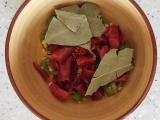 家常炖鸡肉,青杭椒和朝天椒剪段儿,配适量香叶