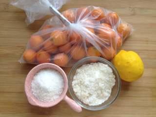 金桔酱,备好所需食材,冰糖我分成两份,50g是比较细的冰糖粉,100g是稍微粗点的冰糖碎