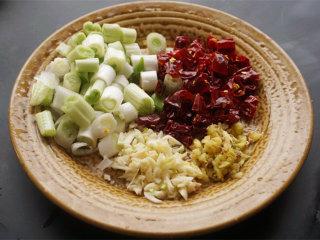 宫保鸡丁,将红辣椒去掉蒂切成小段;葱白切成小段;老姜、大蒜切成米待用 叨叨叨:葱只需要葱白,葱叶不需要