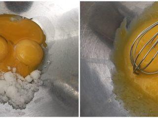 超滿足的肉松小貝,蛋黃加入10克砂糖,手動打蛋器攪拌均勻;