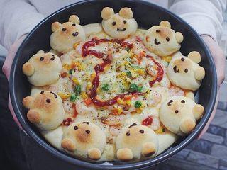 可爱小熊披萨,第二次做的。
