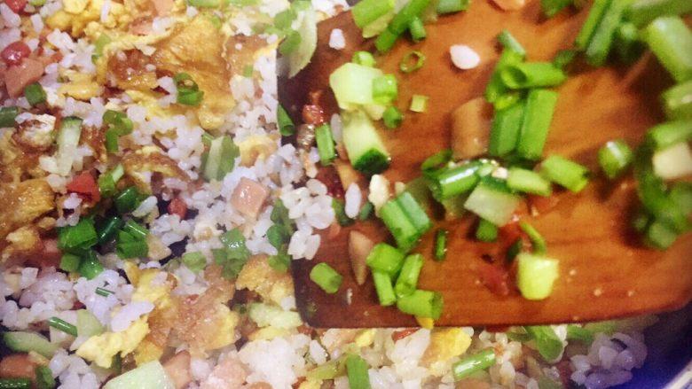 虾仁什锦蛋炒饭,放香葱花准备起锅了,诱人的炒饭香味已是在召唤咕咕叫的肚子了