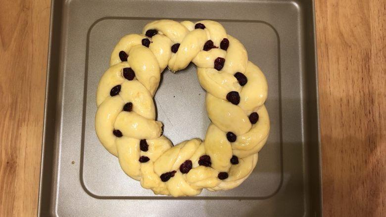 圣诞花环面包,发酵好的面团,刷上一层全蛋液,在辫子的交接处放上提前用朗姆酒泡好并吸干水分的蔓越莓干