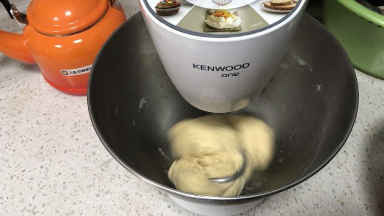 圣诞花环面包,启动厨师机3档和面