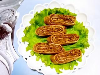 色香味俱全的豆腐皮卷煎,做法儿超级简单,营养又美味!