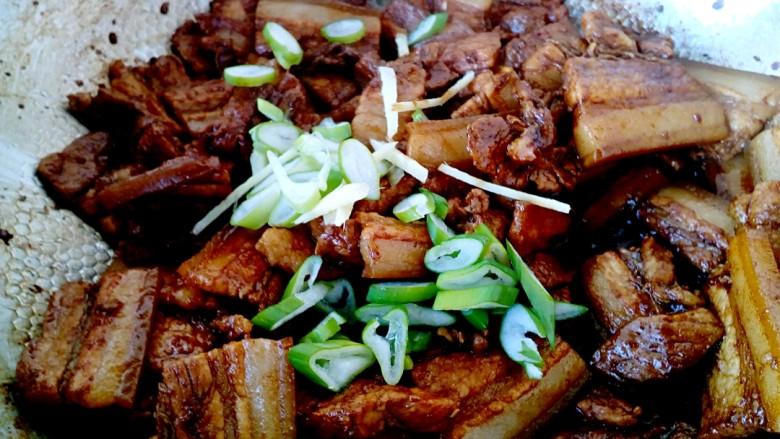 猪肉炖粉条,放入葱花、姜丝、八角翻炒出香味。