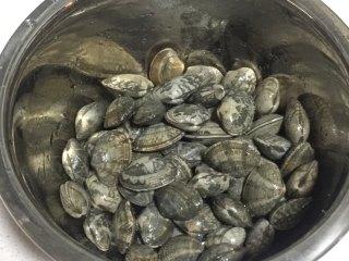 深夜食堂之酒蒸蛤蜊,吐完沙清洗一下沥水备用。