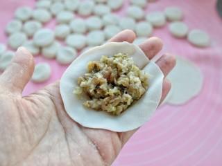 猪肉酸菜水饺,取适量馅料放入饺子皮中