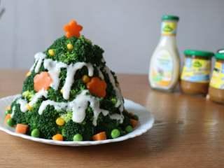 圣诞树沙拉,挤在圣诞树上装饰即可;