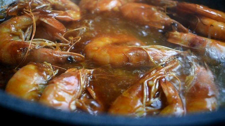 茄汁大虾,再倒入一小碗热水