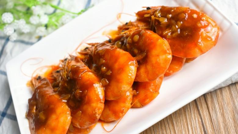 茄汁大虾,成品图来一张。特别的好吃,你也试试吧!