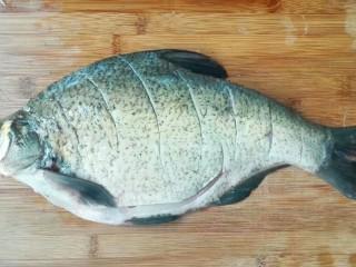 厨房挑战+荤菜+大蒜头黄豆酱烧鳊鱼,鳊鱼在超市杀好了,回来清洗干净,用刀划切数刀
