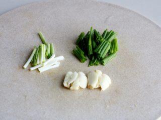 清炖白萝卜,小葱葱白葱叶分开切段、大蒜拍碎;